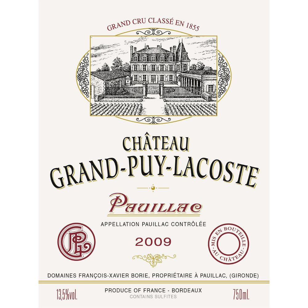 Chateau Grand-Puy-Lacoste  2009 Front Label