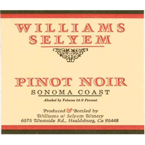 Williams Selyem Sonoma Coast Pinot Noir 2009 Front Label