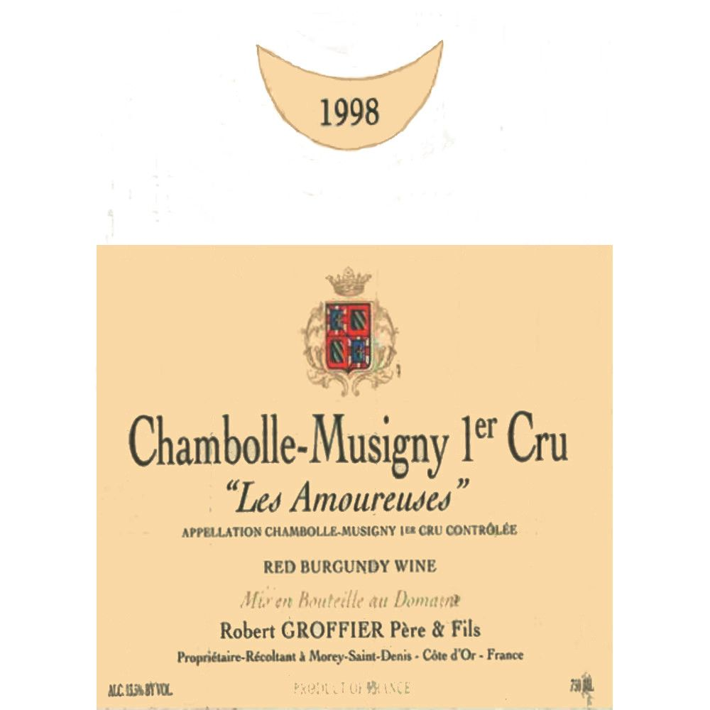 Domaine Robert Groffier Chambolle Musigny Les Amoureuses Premier Cru 1998 Front Label
