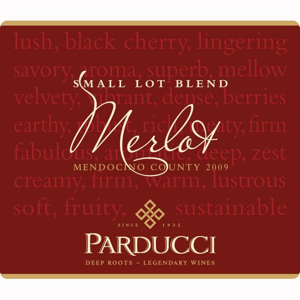Parducci Small Lot Blend Merlot 2009 Front Label