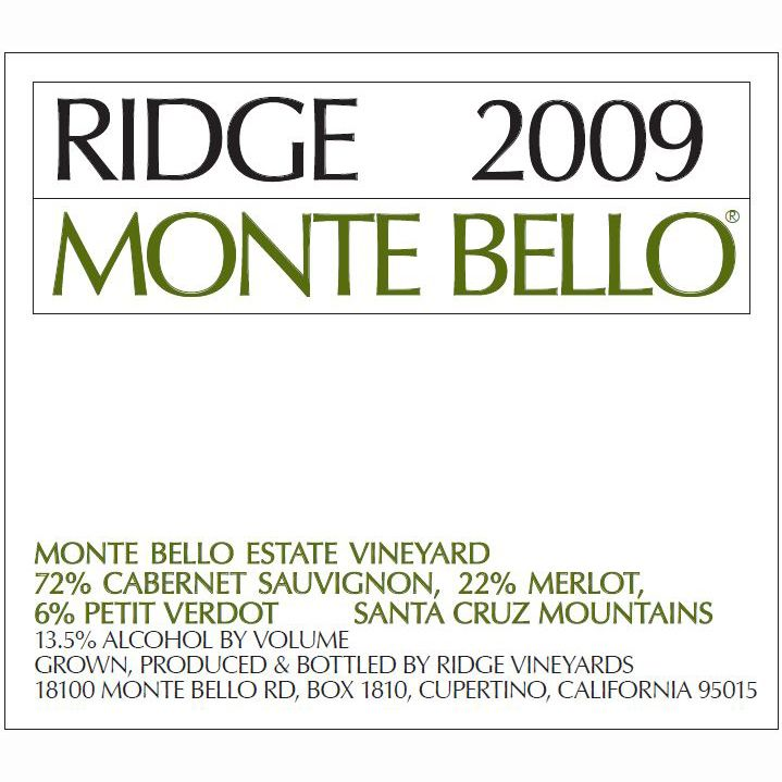 Ridge Monte Bello 2009 Front Label
