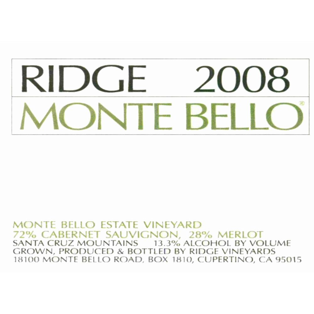 Ridge Monte Bello (1.5 Liter Magnum) 2008 Front Label