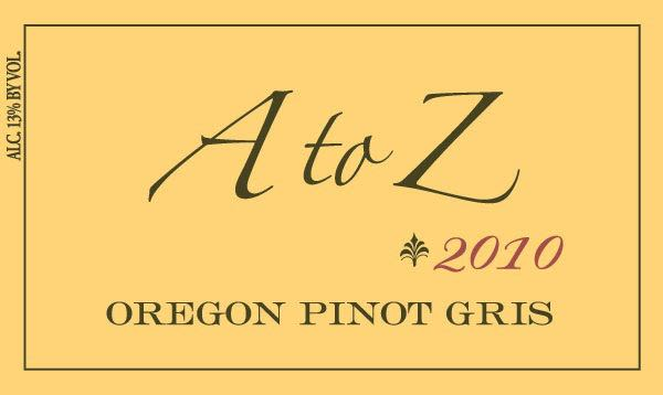 A to Z Pinot Gris 2010 Front Label