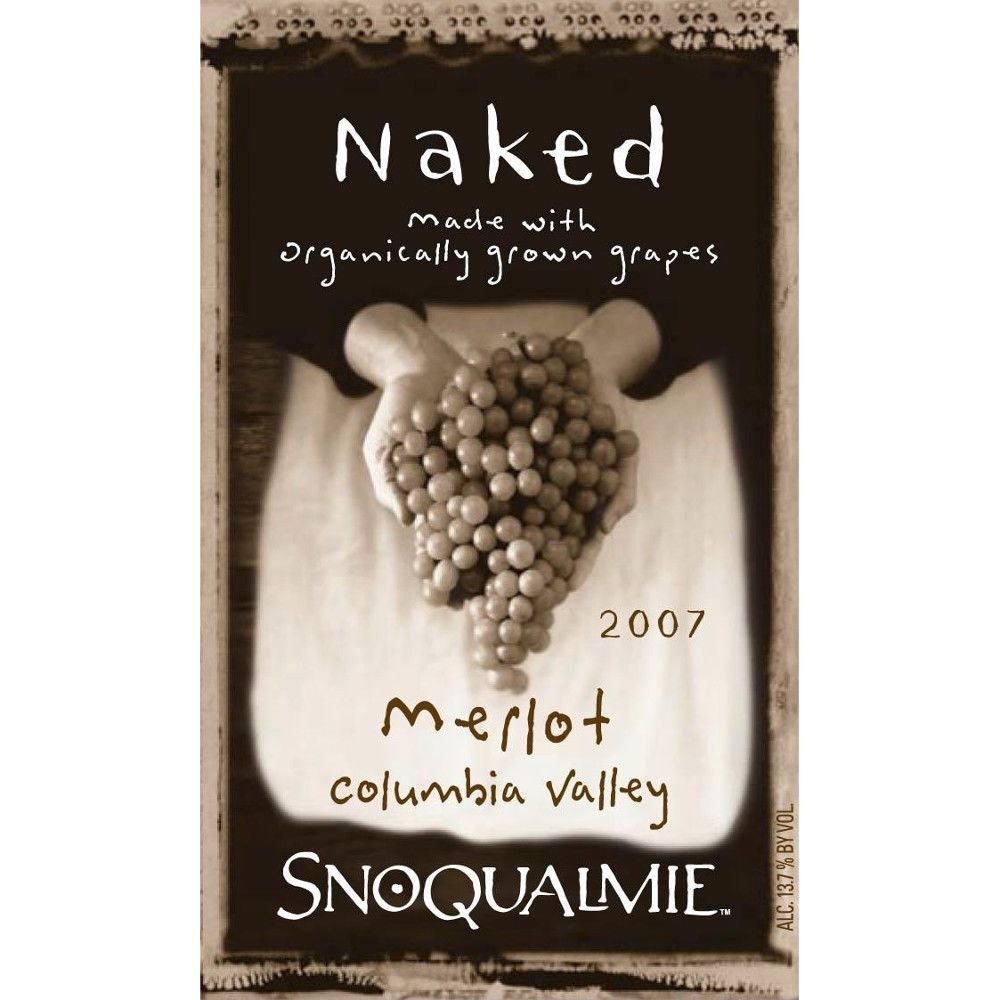 Snoqualmie Naked Merlot 2007 Front Label
