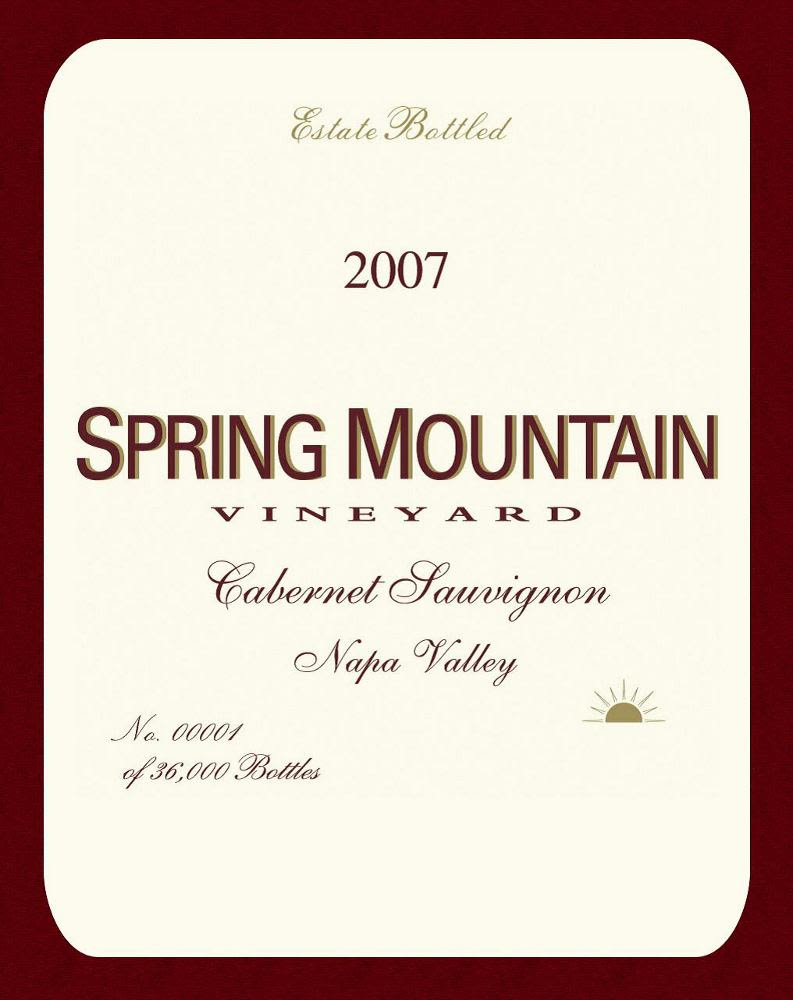 Spring Mountain Vineyard Estate Cabernet Sauvignon 2007 Front Label