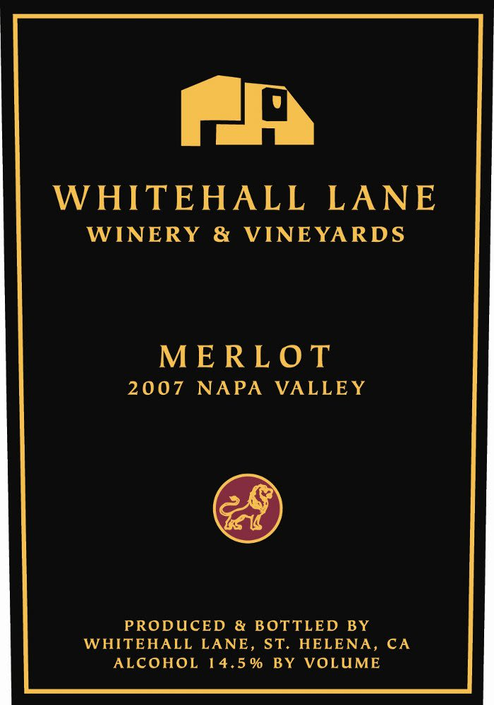 Whitehall Lane Merlot (375ML half-bottle) 2007 Front Label