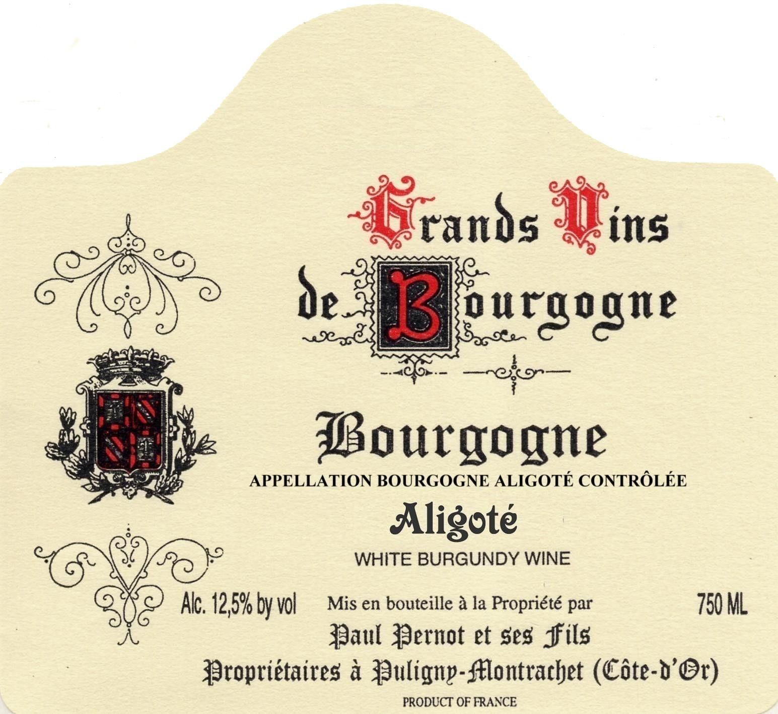Paul Pernot Bourgogne Aligote 2012 Front Label