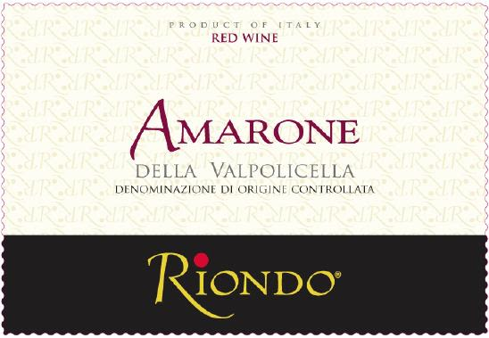 Riondo Amarone 2005 Front Label