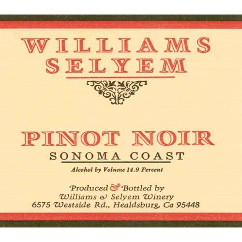 Williams Selyem Sonoma Coast Pinot Noir 2007 Front Label