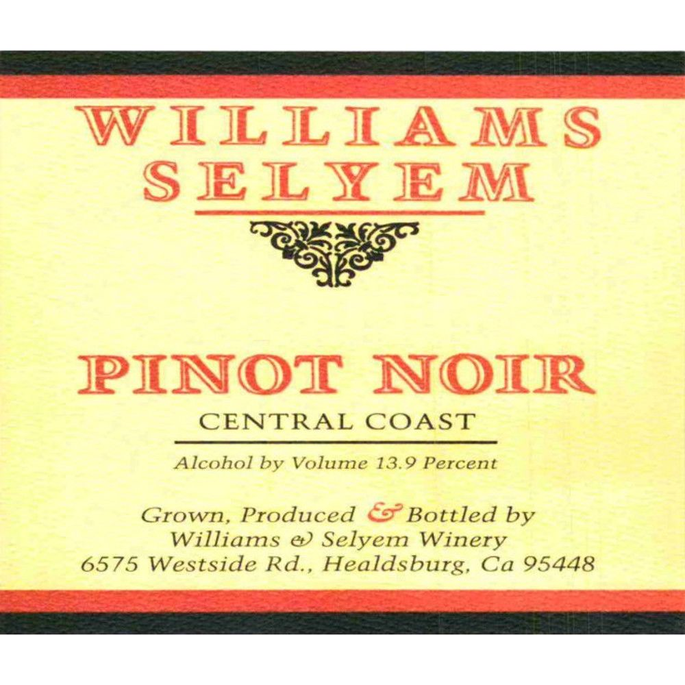 Williams Selyem Central Coast Pinot Noir 2007 Front Label