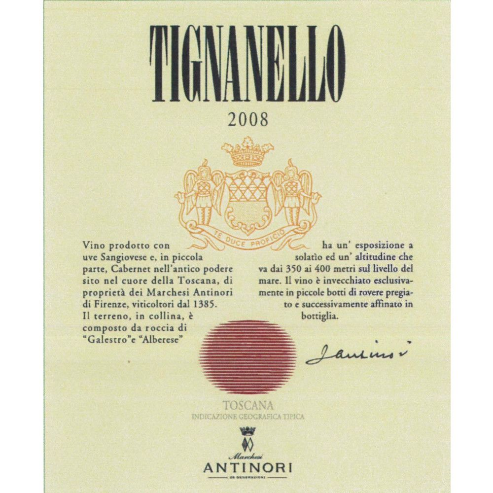 Antinori Tignanello 2008 Front Label