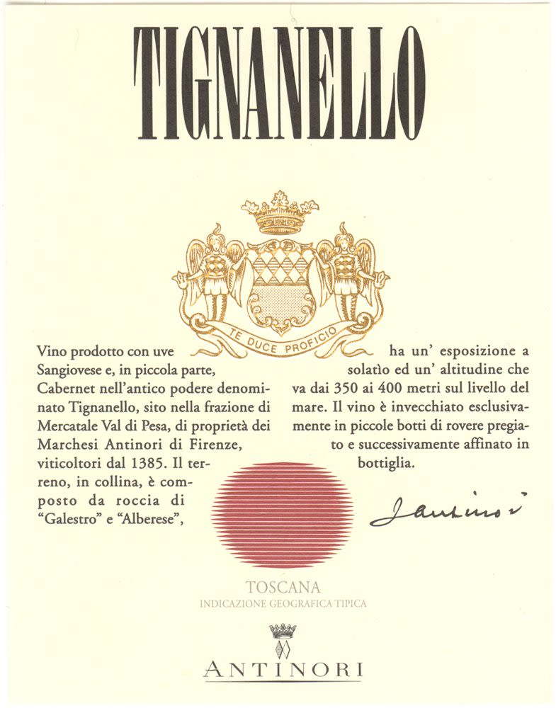Antinori Tignanello (3 Liter Bottle) 2006 Front Label
