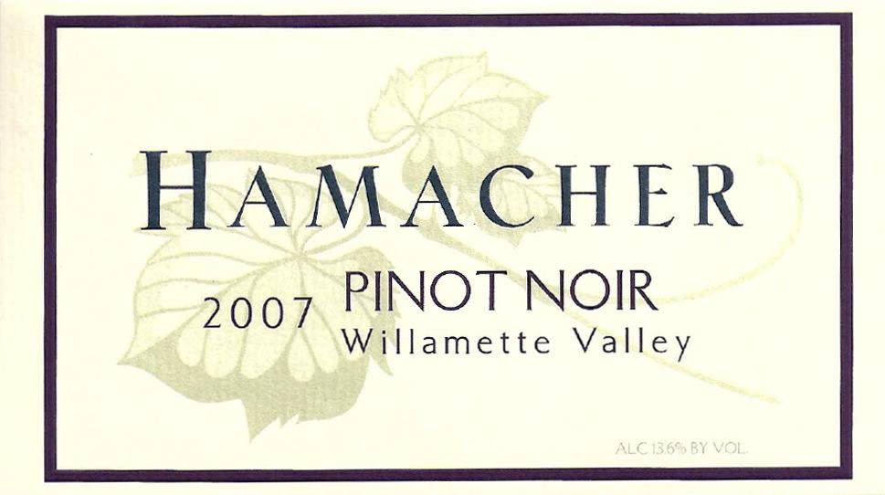 Hamacher Wines Pinot Noir 2007 Front Label