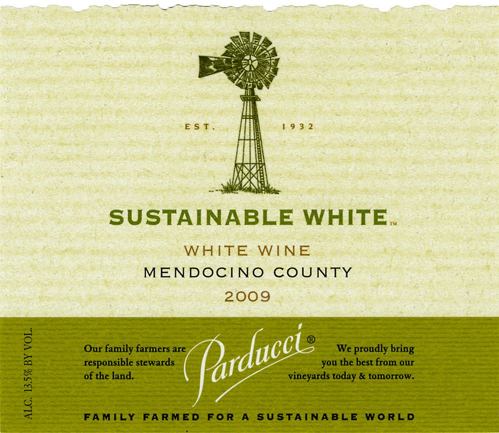 Parducci Sustainable White 2009 Front Label