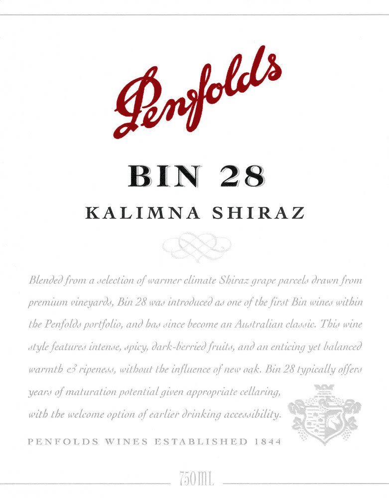 Penfolds Kalimna Bin 28 Shiraz 2008 Front Label