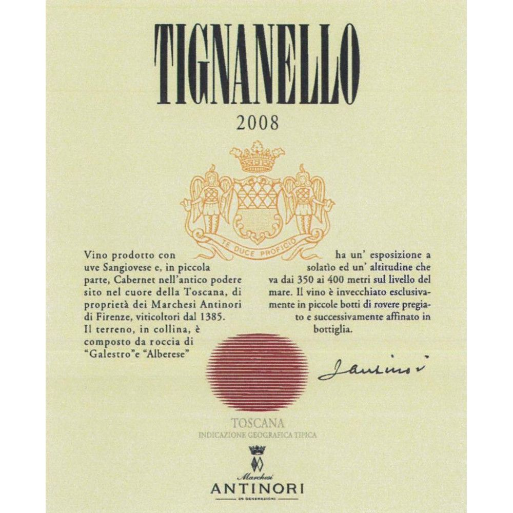 Antinori Tignanello (375ML half-bottle) 2008 Front Label