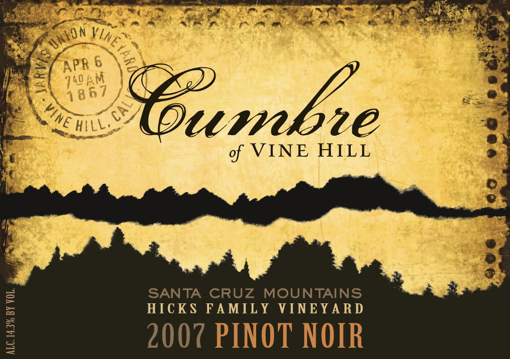 Cumbre of Vine Hill Hicks Family Vineyard Pinot Noir 2007 Front Label