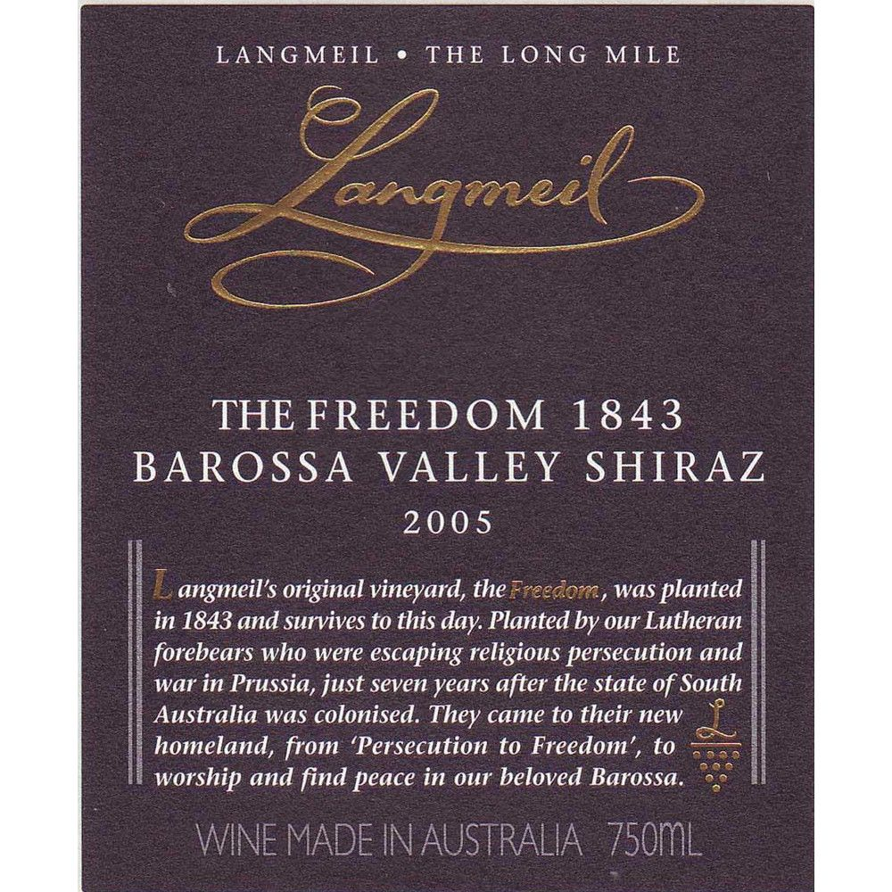 Langmeil The Freedom 1843 Shiraz 2005 Front Label