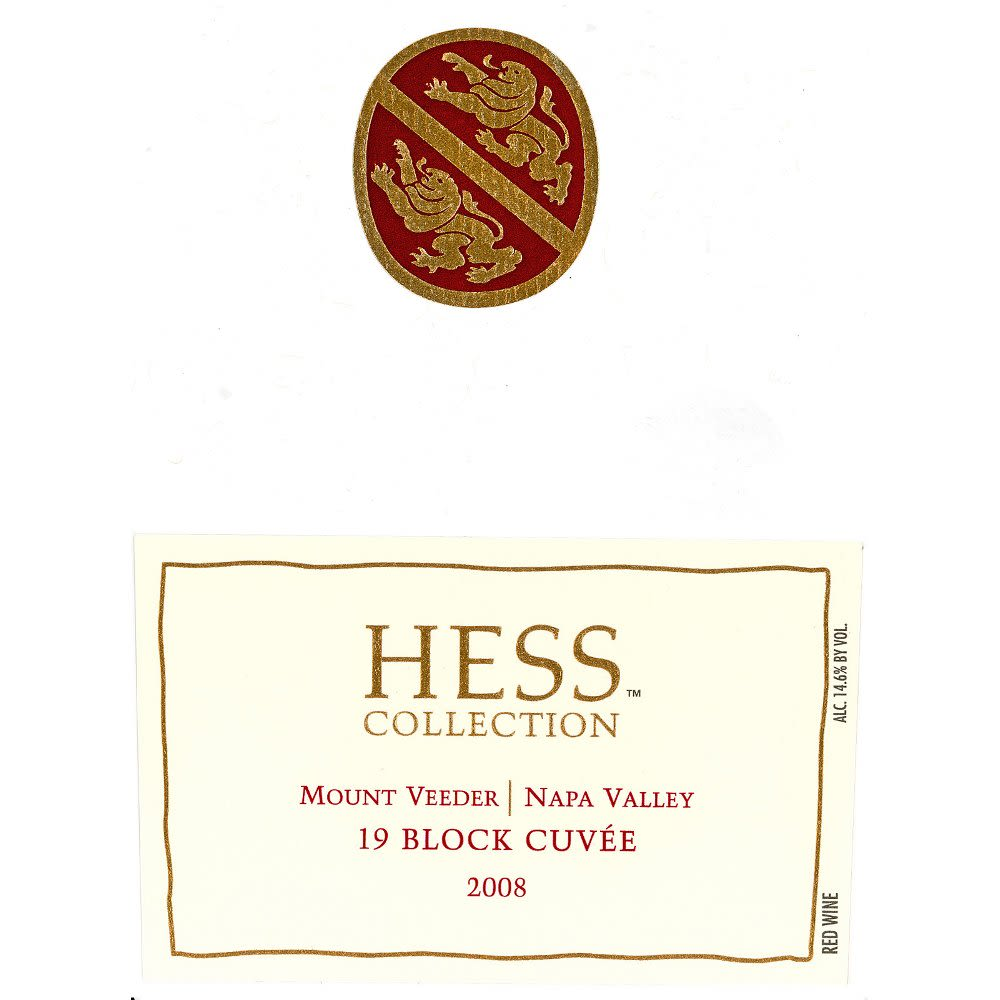 Hess Collection 19 Block Cuvee Mt Veeder 2008 Front Label