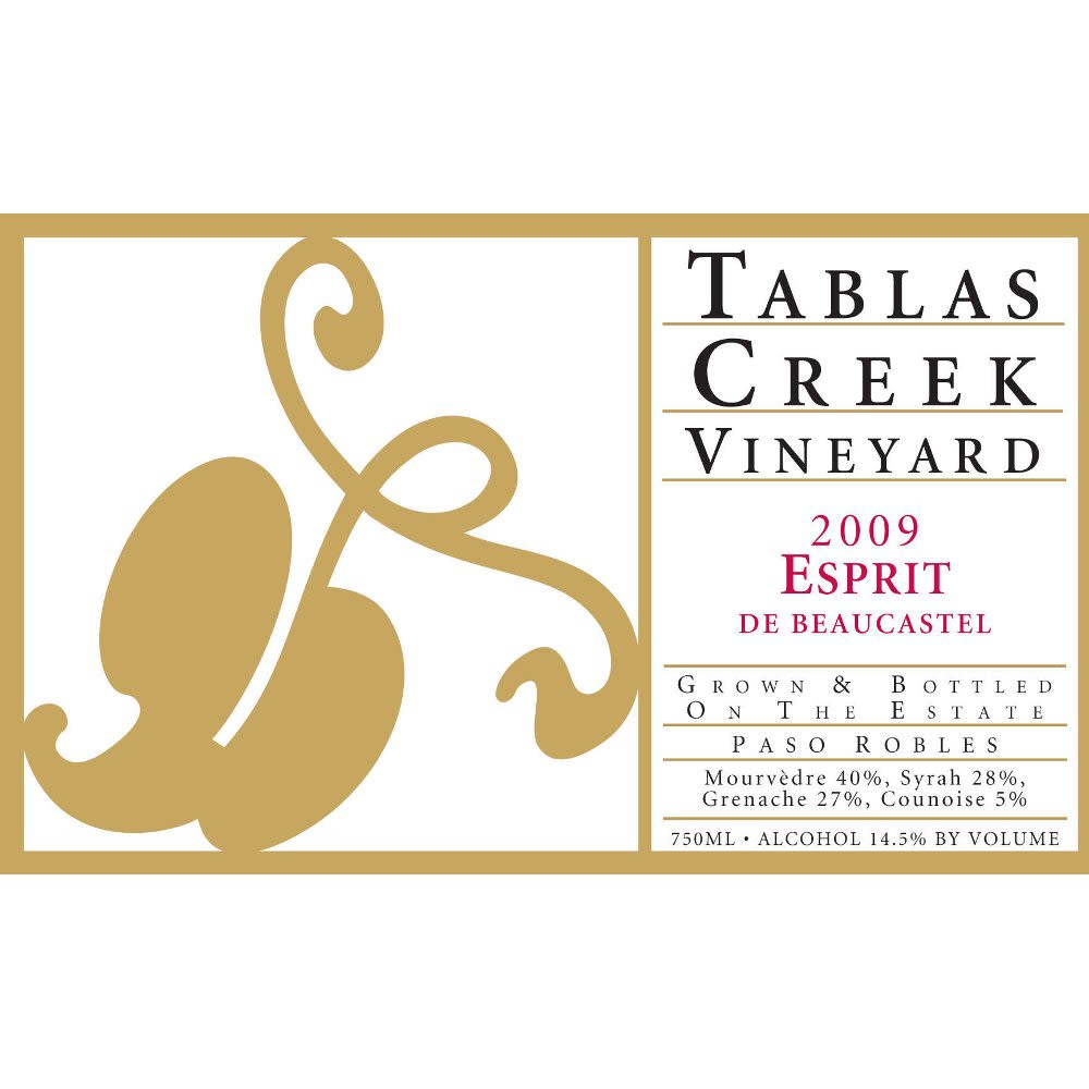 Tablas Creek Esprit de Beaucastel Rouge (375ML half-bottle) 2009 Front Label
