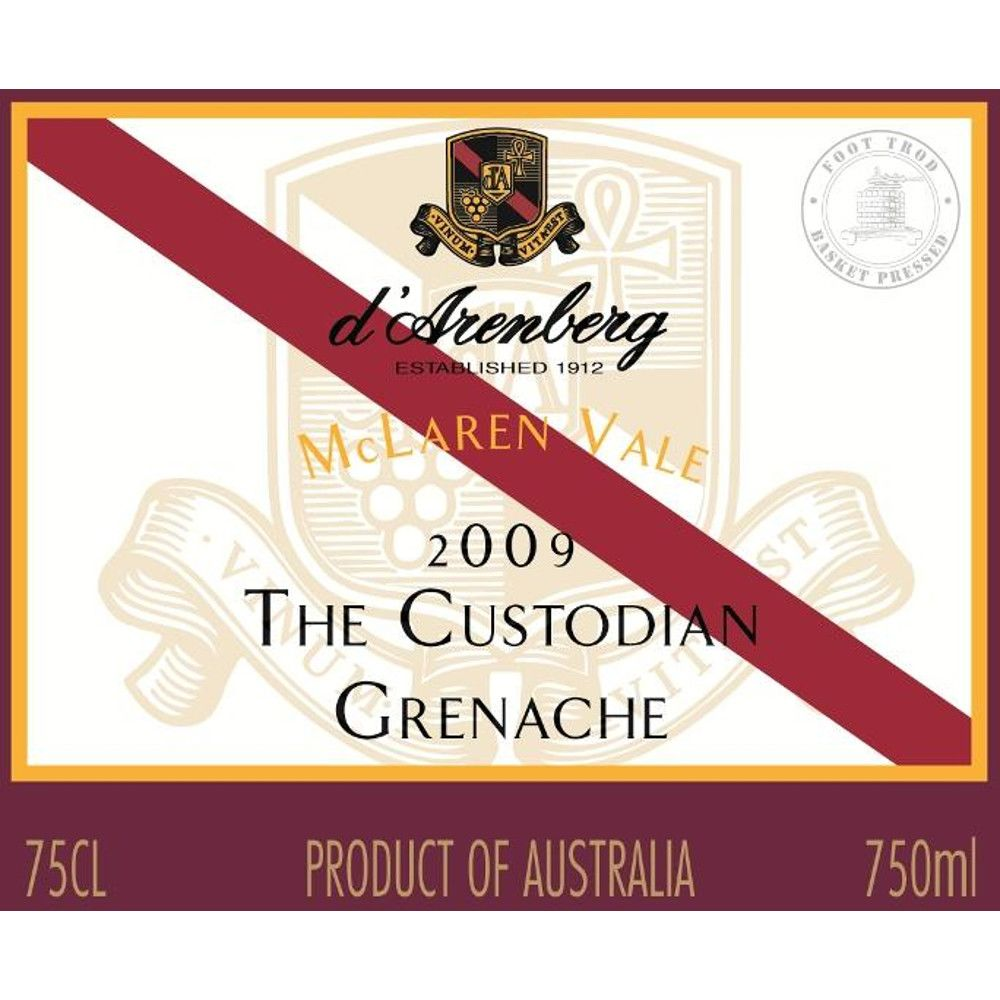 d'Arenberg The Custodian Grenache 2009 Front Label