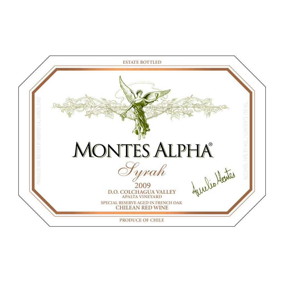 Montes Alpha Series Syrah 2009 Front Label