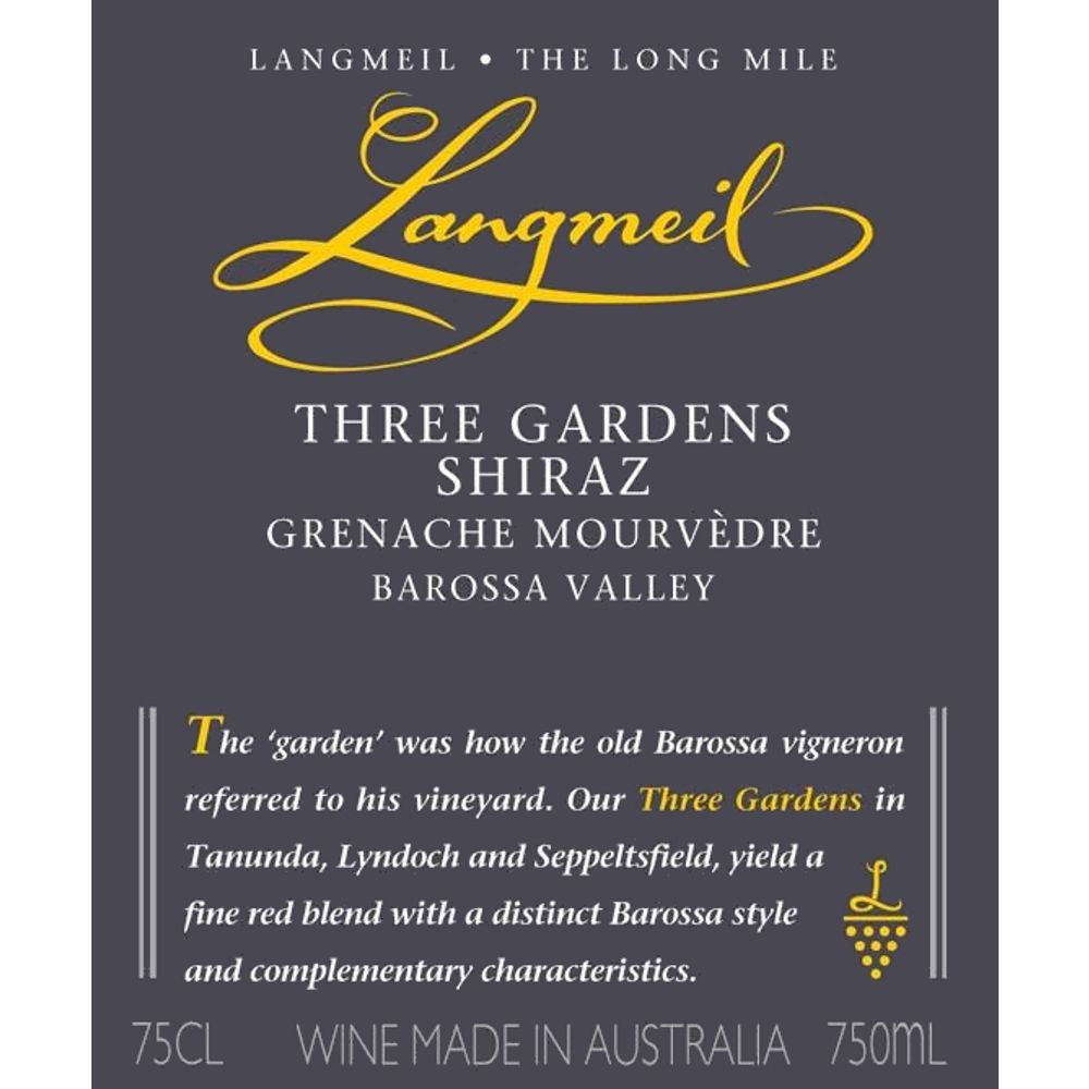 Langmeil Three Gardens SMG 2010 Front Label