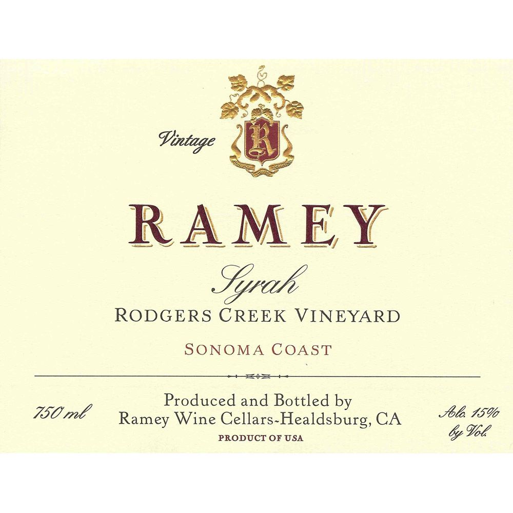 Ramey Rodgers Creek Vineyard Syrah 2008 Front Label