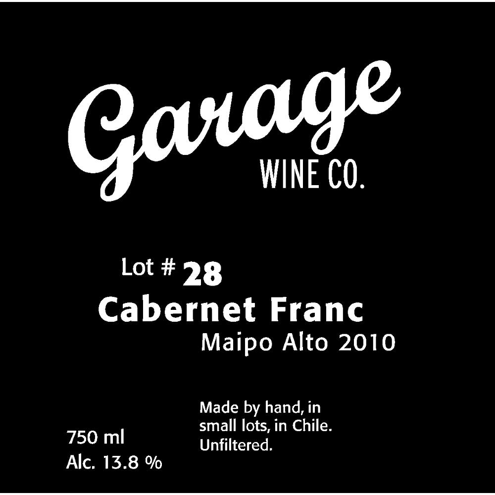 Garage Wine Co. Cabernet Franc 2010 Front Label