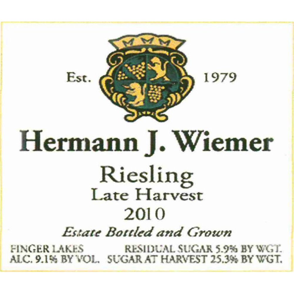 Hermann J. Wiemer Late Harvest Riesling 2010 Front Label
