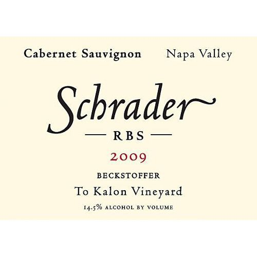 Schrader RBS To Kalon Vineyard Cabernet Sauvignon 2009 Front Label