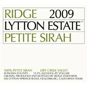 Ridge Lytton Estate Petite Sirah 2009 Front Label
