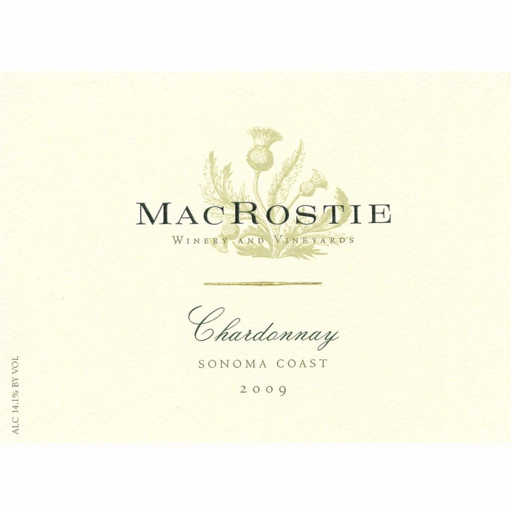 MacRostie Sonoma Coast Chardonnay (375ML half-bottle) 2009 Front Label