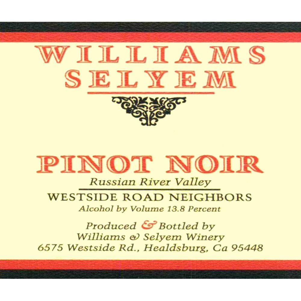 Williams Selyem Westside Road Neighbors Pinot Noir 2010 Front Label