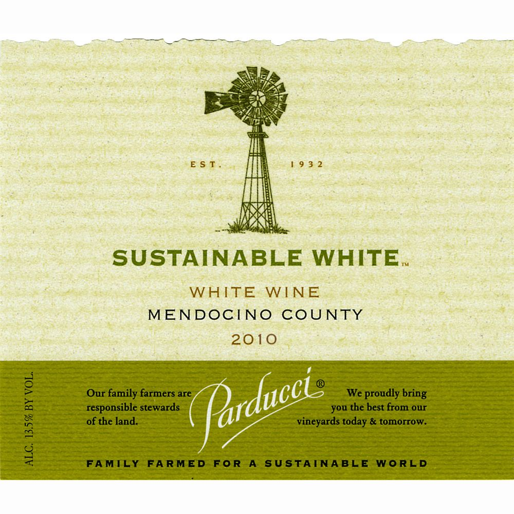 Parducci Sustainable White 2010 Front Label