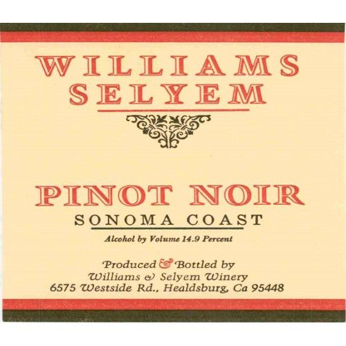 Williams Selyem Sonoma Coast Pinot Noir 2006 Front Label
