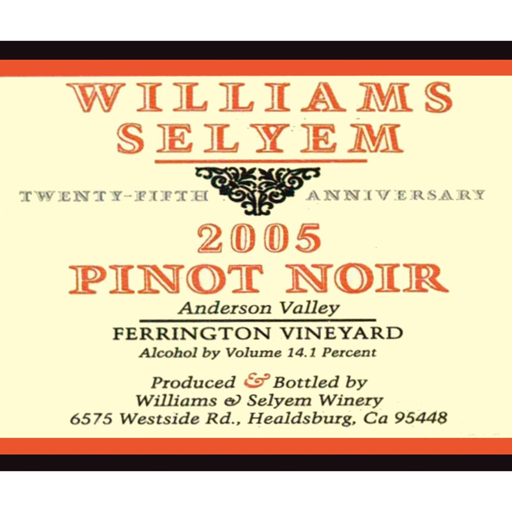 Williams Selyem Ferrington Vineyard Pinot Noir 2005 Front Label