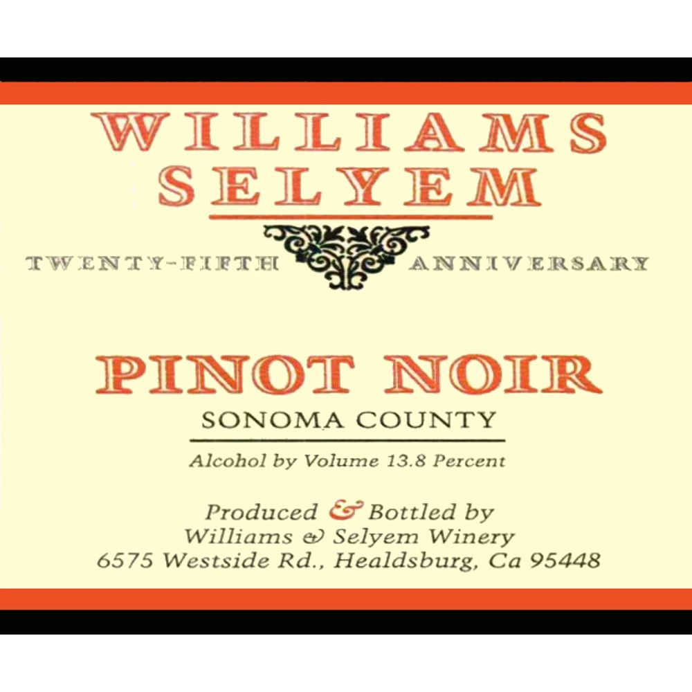 Williams Selyem Sonoma County Pinot Noir 2006 Front Label