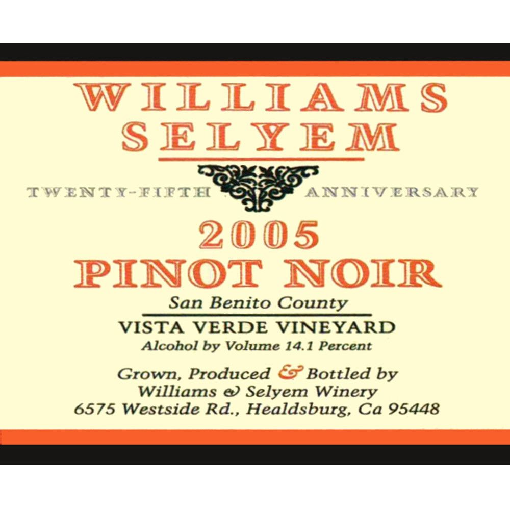 Williams Selyem Vista Verde Vineyard Pinot Noir 2005 Front Label