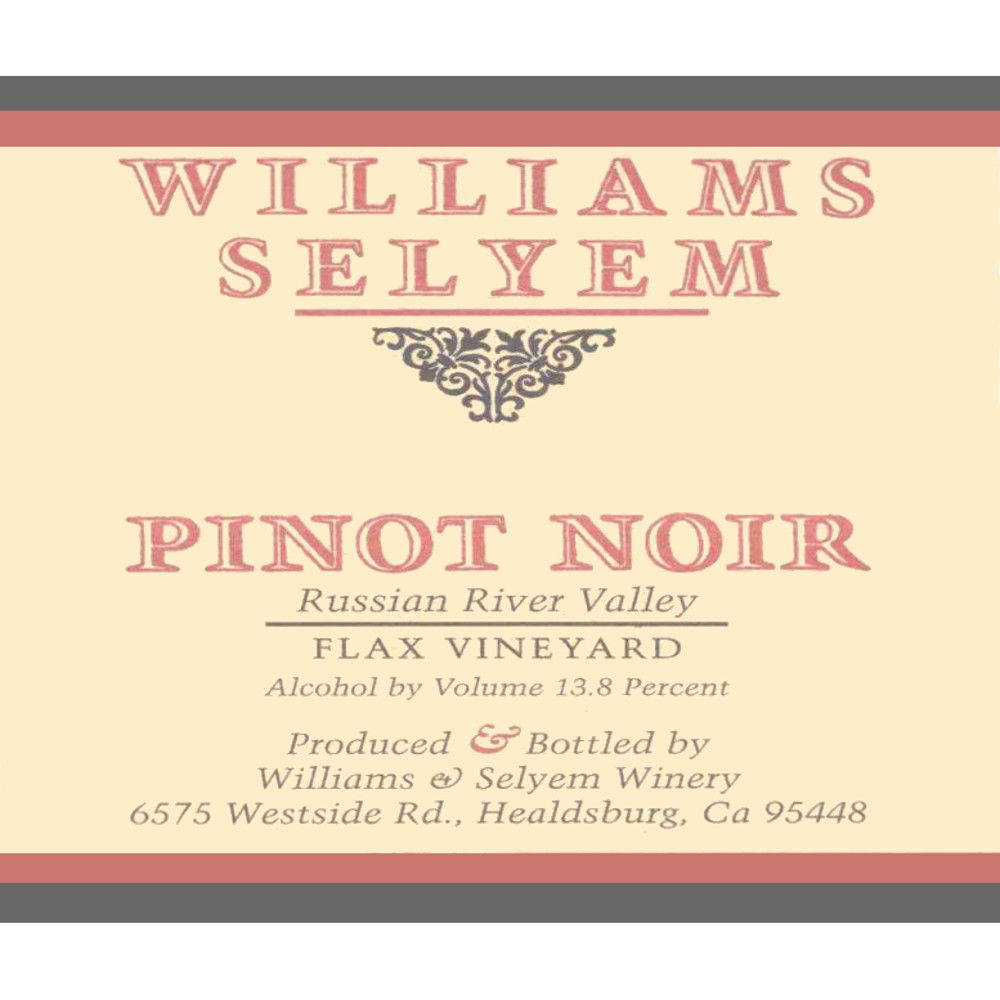 Williams Selyem Flax Vineyard Pinot Noir 2005 Front Label