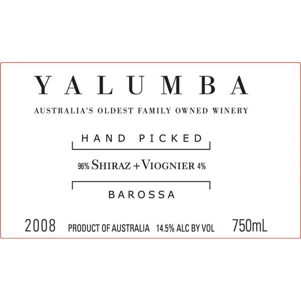 Yalumba Hand Picked Barossa Shiraz/Viognier 2008 Front Label