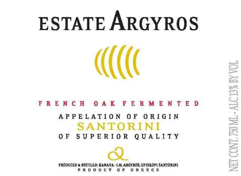 Argyros French Oak Fermented Assyrtiko 2011 Front Label