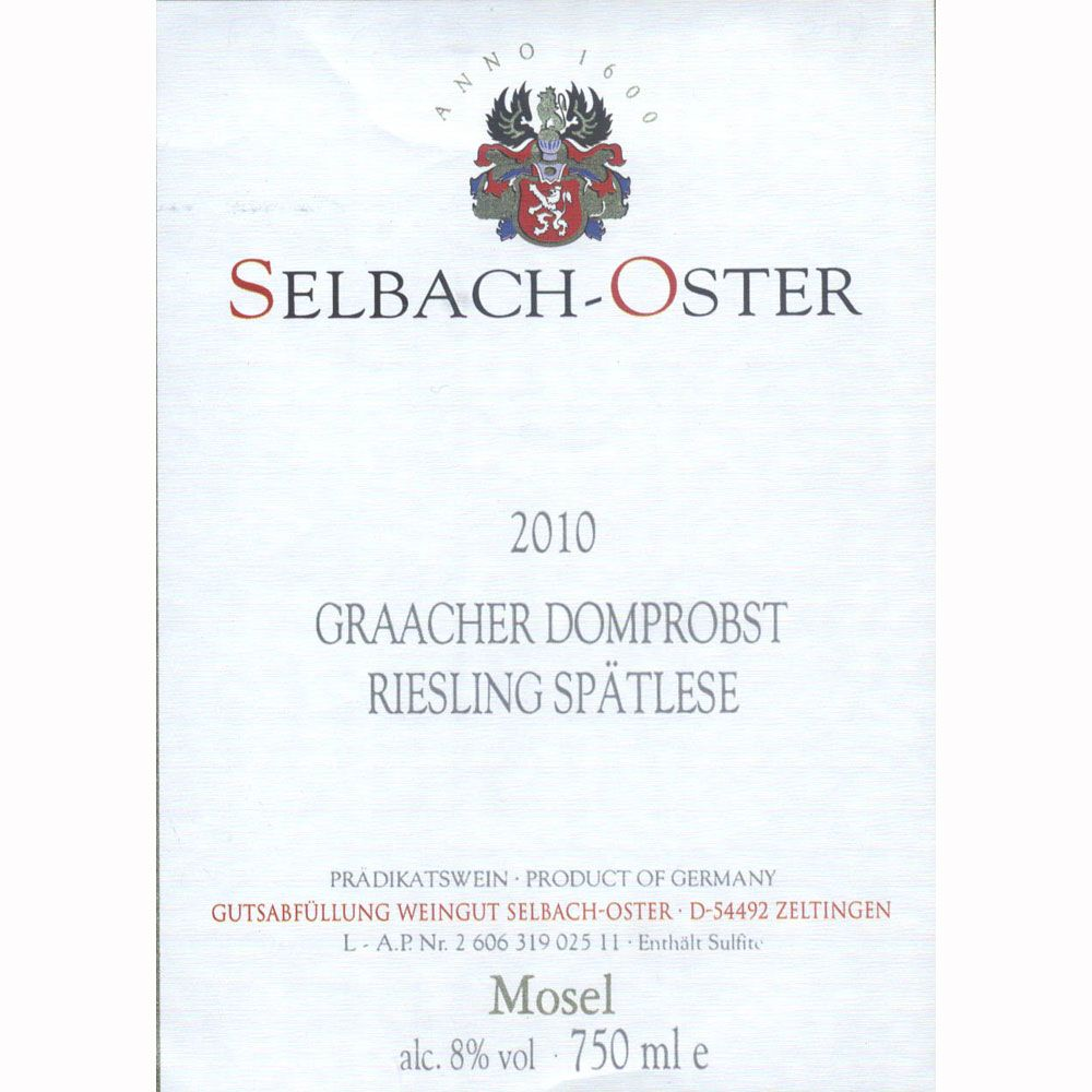 Selbach Oster Graacher Domprobst Riesling Spatlese 2010 Front Label