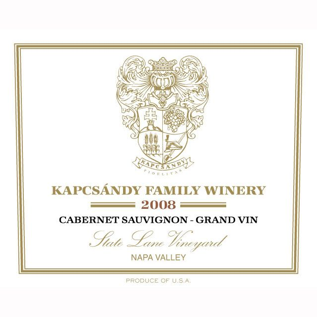 Kapcsandy Family Winery State Lane Cabernet Sauvignon Grand Vin 2008 Front Label