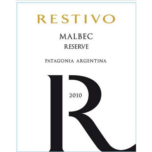 Restivo Malbec Reserve 2010 Front Label