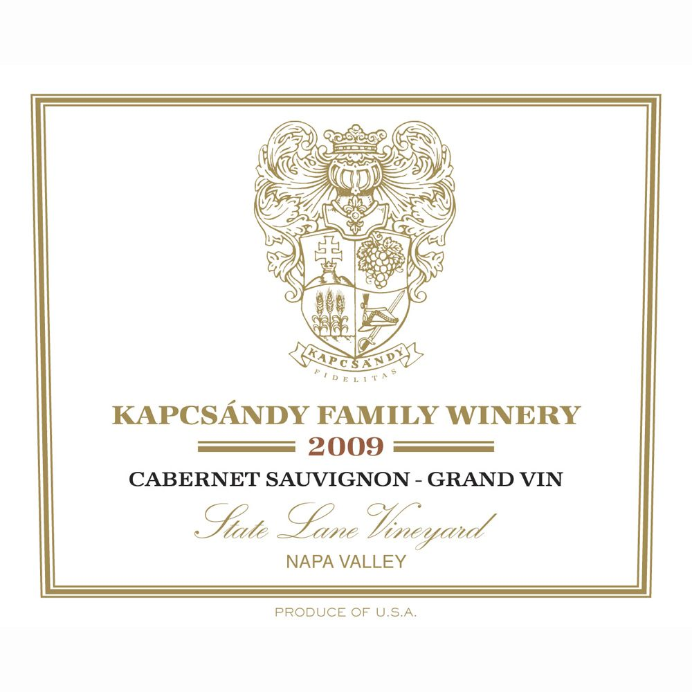 Kapcsandy Family Winery State Lane Cabernet Sauvignon Grand Vin 2009 Front Label