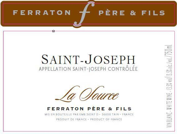 Ferraton Pere & Fils Saint-Joseph La Source Blanc 2010 Front Label
