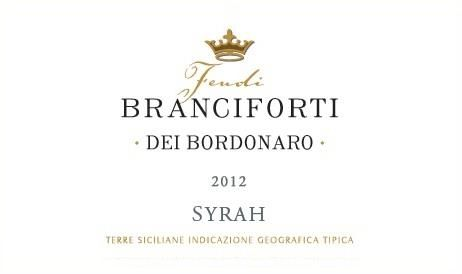 Firriato Feudi Branciforti dei Bordonaro Syrah 2012 Front Label