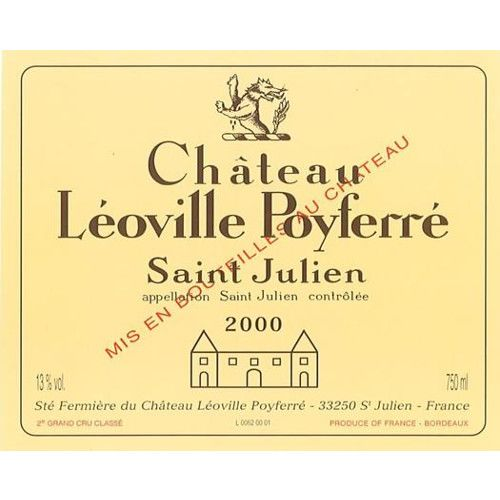 Chateau Leoville Poyferre  2000 Front Label