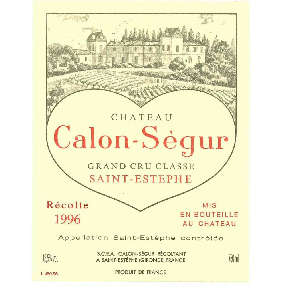 Chateau Calon-Segur  1996 Front Label